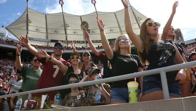 Fans cheer on the Noles as they play Louisville at Doak Campbell Stadium on Saturday, Oct. 21, 2017.