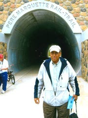 "Balaram ""B.K."" Singh at the June 2008 grand opening of the Pere Marquette Rail-Trail pedestrian tunnel under U.S.-127 in Clare."
