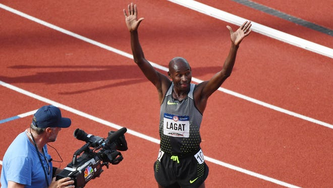 41-year-old Bernard Lagat of Tucson qualified for his fifth Olympics on Saturday by winning the 5,000-meter at the U.S. Olympic Track Trials.