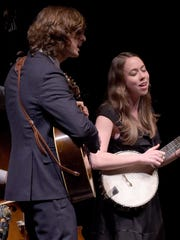 The Milk Carton Kids -- Joey Ryan (left) and Kenneth Pattengale (right) -- perform with Sarah Jarosz at the CMA Theater in Nashville, Tenn.