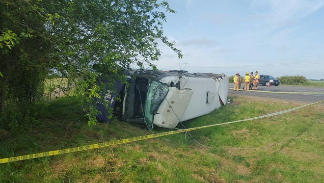 A HUT Portland Airport Shuttle Bus that  lost control and crossed the center median, broke through the cable barrier and crossed the northbound lanes of Interstate 5 near Woodburn backed up traffic for hours Saturday morning.