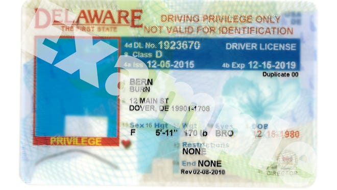 An example of a Delaware driving privilege card is shown. Lawmakers in June approved extending driving privileges to those in the country illegally. The program started Sunday.