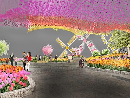 A rendering of the entrance garden to the 2017 Philadelphia