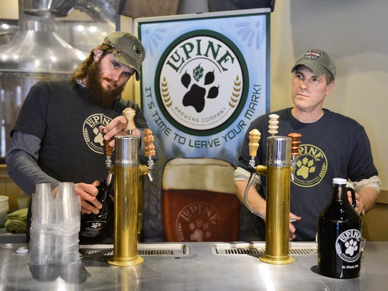 Lupine Brewing Co. Brewmaster Grant Aldrich, left,