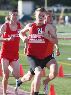 North Rockland's Patrick Tuohy on his way to winning the 1600 during the Section 1 State Track and FieldQualifier at White Plains High School June 2, 2017.