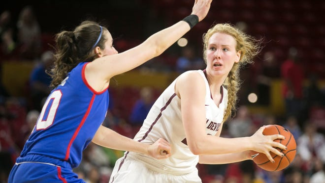 ASU center Quinn Dornstauder looks to pass as SMU forward Alicia Froling defends during the second half of the women's college basketball game at Wells Fargo Arena in Tempe on Dec. 6, 2014. ASU won the game 77-42.