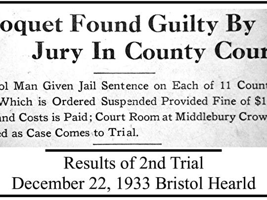 Headline in Bristol Herald of Dec. 22, 1933 about Joseph Choquet's guilty verdict.
