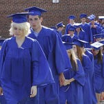 Horace Greeley High School graduates head to Sunday's commencement ceremony in Chappaqua.
