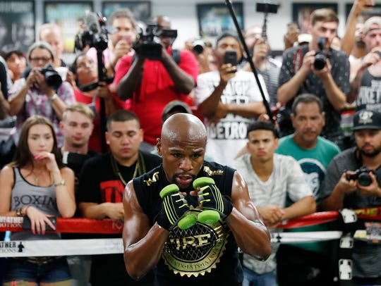 Floyd Mayweather Jr. holds a media workout at the Mayweather