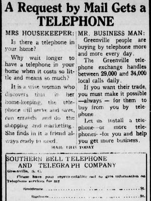 An ad in The Greenville News on April 9, 1916.