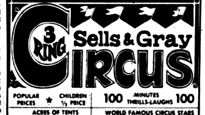 A newspaper ad from 1970 for the circus at Verona.