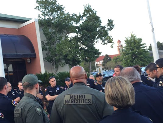 Police officers meet with union rep