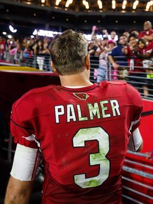 Oct 17, 2016: Arizona Cardinals quarterback Carson Palmer (3) against the New York Jets at University of Phoenix Stadium.
