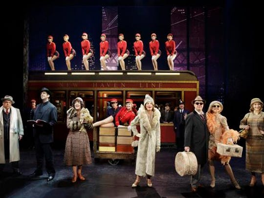 """Vincent Pastore, Nick Cordero, Karen Ziemba, Marin Mazzie, Brooks Ashmanskas, Helene Yorke and Betsy Wolfe with the cast of """"Bullets Over Broadway"""" at the St. James Theatre, in New York."""