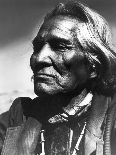 """The Navajo,"" 1938.  Goldwater said:  ""This is one of my most successful photographs, having been shown in nearly one hundred  salons around the world. The dignity of the ancient citizens of Arizona shows clearly in the features of this man. Charlie Potato was his name and his face reflects the pride and dignity of his people."" Editor's note: This photo was taken at an Indian Fair near Window Rock."