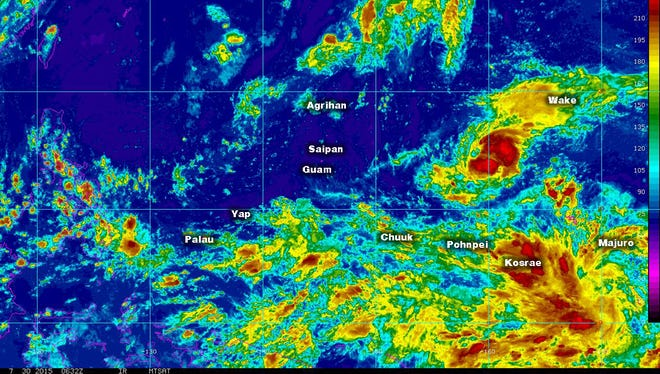 An enhanced satellite image of the weather system to the west of the Marianas.