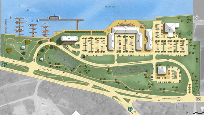 The proposed plans for the former DTE site along the St. Clair River would include a hotel (A) with 100 rooms over five stories and a top floor with condominiums; an amenities building (B) with restaurants, a banquet hall, outdoor seating, café and specialty food shops; general retail building (C); riverfront promenade (D); informational kiosk (E); fitness center (F); pad site (G); and other amenities such as Gratiot DTE Park (1), a marina (2), public dock (3), two entrances and parking (4, 9, 5), and bike paths (6), among other features.