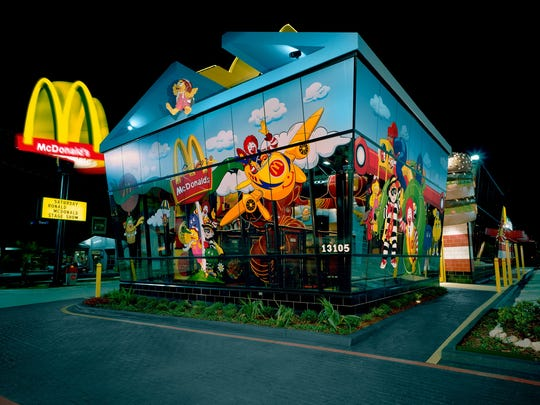 A McDonald's location at night.