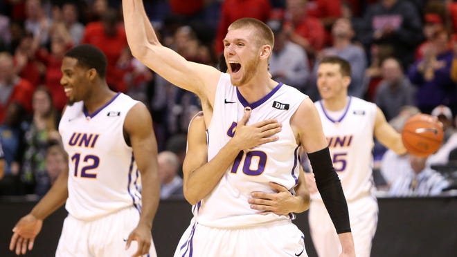 Northern Iowa forward Seth Tuttle (10) is embraced by teammate Jeremy Morgan after the Panthers beat Illinois State in the Missouri Valley Conference championship game earlier this month. The Panthers are the No. 5 seed in the East Regional.