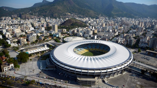 An aerial view of Maracana Stadium and Maracanazinho Arena (top) in the city of Rio.