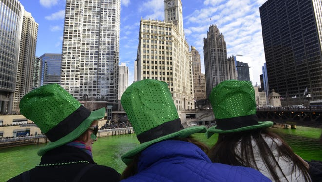 The Chicago River being dyed green ahead of the St. Patrick's Day parade in Chicago, Saturday, March 15, 2014.