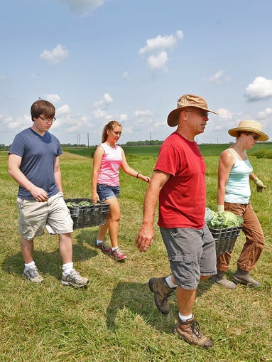 Sean Murphy, from left, Lauren Heady, Eric Murphy, and Christine Murphy take in harvested vegetables, at the Shamrock Farm, Thursday, July 31, 2014.  The farm is designated as a certified naturally grown farm, not an organic farm.