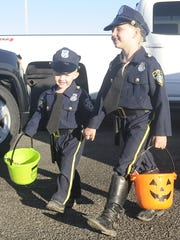 Maurice Galvin, 2, and Peyton Galvin, 6, dressed as