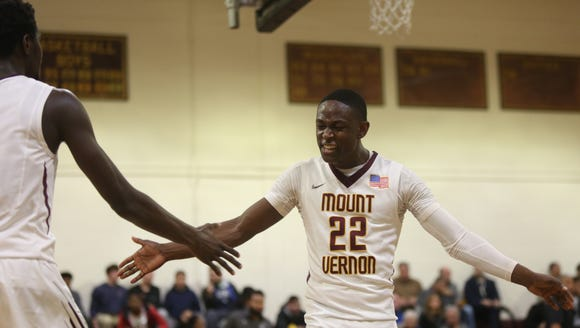 Mount Vernon's Demetre Roberts (22) celebrates with