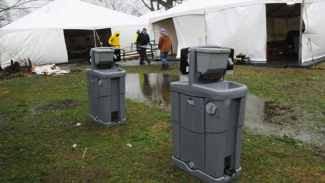 The large tents that were erected in early April at Perkins Park were taken down on Thursday and about 60 homeless people were moved to the Rodeway Inn in Brockton to continue social distancing guidelines.