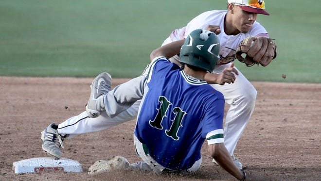 El Dorado's Anthony Ochoa gets Montwood's Anthony Chavez out at second during their game Friday at Southwest University Park.