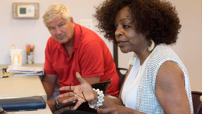 Cheryl Perry, director of the Pathways for Change Family Center, talks Wednesday about how the organization has improved its GED program.