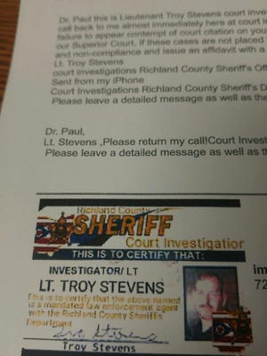 The Richland County Sheriff's Office is warning residents about a jury duty scam. This is a copy of an email that the suspect uses to solicit the funds with a fake sheriff's identification card.
