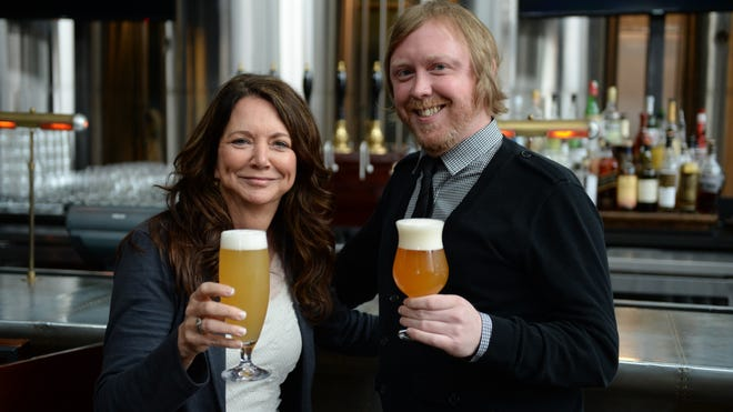 Kim Jordan, left, co-founder and CEO of New Belgium Brewing in Fort Collins, Colo., and Greg Engert, beer director of Bluejacket brewery and restaurant in Washington, D.C., at Bluejacket on April 29, 2014.