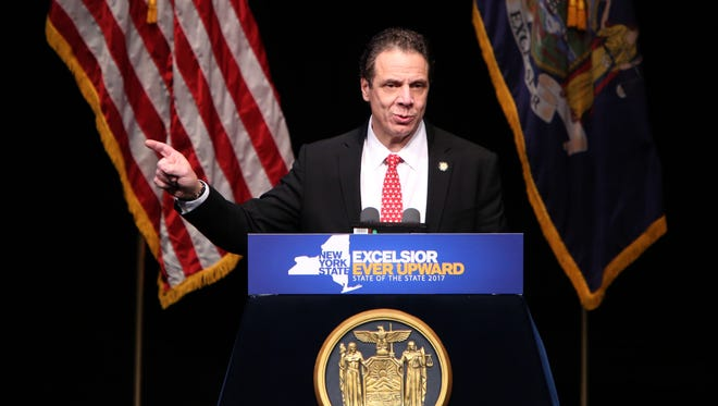 Governor Andrew Cuomo delivers the State of the State Address in the Mid-Hudson Region at SUNY Purchase Performing Arts Center, Jan. 10, 2017.