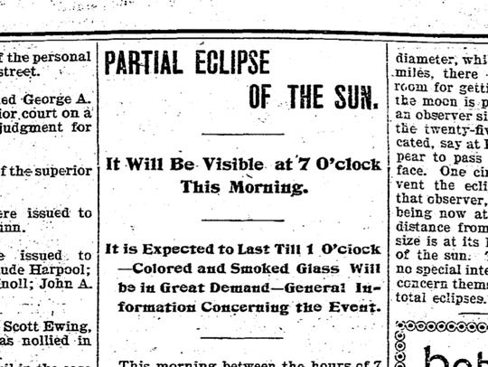 Headline from Evansville Courier in 1897.