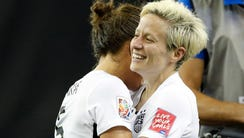 United States midfielder Megan Rapinoe (15) celebrates