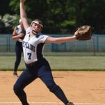 Pine Plains' Anna Lonczak throws a pitch during Saturday's sectional championship against Chester.