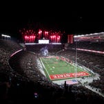 Oct 17, 2015; Columbus, OH, USA; A general view as the Ohio State Buckeyes take the field before the game against the Penn State Nittany Lions at Ohio Stadium.