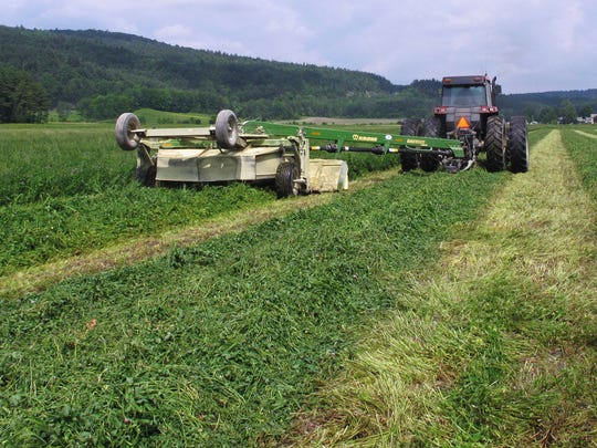 Dairy farmer Ransom Conant cuts an alfalfa and grass field in Richmond, Vt., Tuesday, June 13, 2017, which is late for the season. Following dry and drought conditions last summer, Northeast farmers are facing the opposite challenge this growing season: a rainy, cool spring that has delayed the planting of corn and other crops and the first cutting of hay for livestock feed.