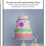 A screenshot of Facebook's birthday videos.