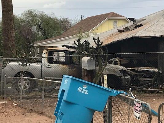 Phoenix house fire, involving 2 vehicles