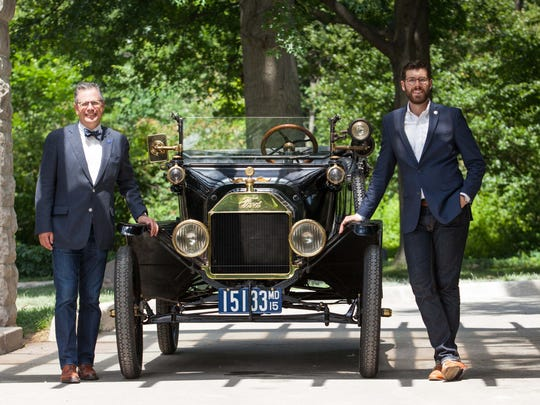 HVA President, Mark Gessler and HVA Historian, Casey Maxon stand with 1915 Ford Model T Touring at the Ford Estate at Fair Lane in Dearborn.