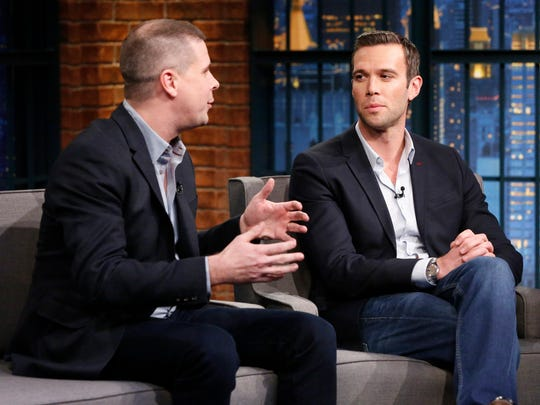 "Former senior adviser to President Barack Obama and ""Pod Save America"" co-host Dan Pfeiffer (left) on ""Late Night with Seth Meyers"" last year. He was joined by fellow podcast host and former Obama speechwriter Jon Favreau."