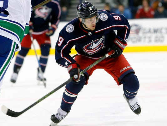FILE - In this Jan. 12, 2018, file photo, Columbus Blue Jackets' Artemi Panarin, of Russia, plays against the Vancouver Canucks during an NHL hockey game in Columbus, Ohio. Game 1 of the Capitals and Columbus Blue Jackets first found playoff series is Thursday, April 12, 2018. (AP Photo/Jay LaPrete, File)