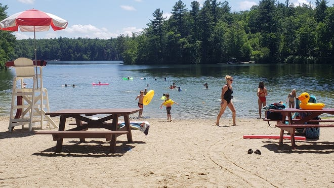 The Lancaster beach on Spec Pond, from last summer.