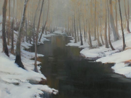 "Megan Lightell, ""Beaman Park Field Study (Winter),  oil on paper, 12x12."