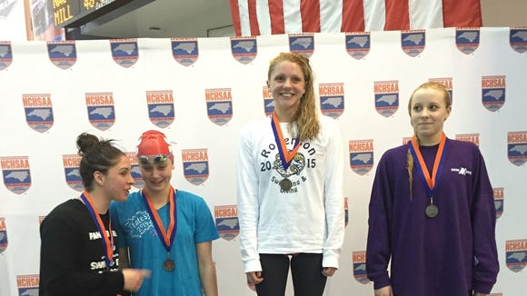 Roberson sophomore Mary-O Soule won the 100-yard butterfly on Saturday at the NCHSAA 4-A swim meet.