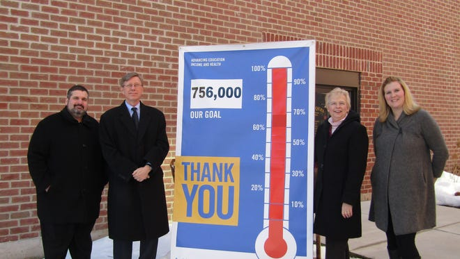 Pictured from left are Dave Hodorff, Brenner Tank (Senior Pacesetter), 2015 United Way Honorary Campaign Chair; Rick Parks, Society Insurance (Junior Pacesetter); Cathi McGowan, United Way Board President; Amber Kilawee,  United Way Executive Director.