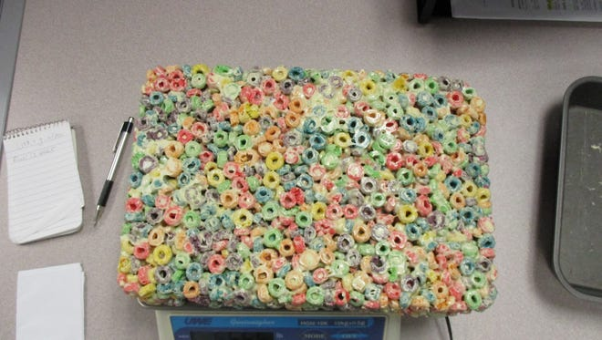 Newark police say they found this edible marijuana Froot Loop brick in the apartment of Dylan Nunn, 22.