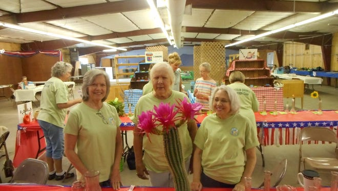 Judy Chappell's Grand Champion Cactus pictured with Lincoln County Garden Club members Connie Neubauer, Patsy Miller and Leila Adams.